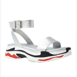 Women's Silver & Black Dash Sandals